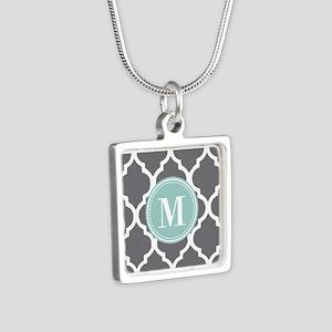 Gray Mint Quatrefoil Monog Silver Square Necklace