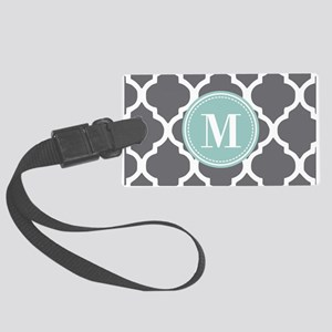 Gray Mint Quatrefoil Monogram Large Luggage Tag