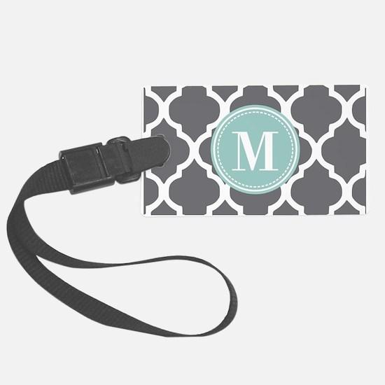 Gray Mint Quatrefoil Monogram Large Luggage Tag