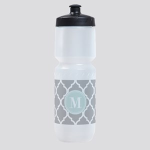 Gray Mint Quatrefoil Monogram Sports Bottle