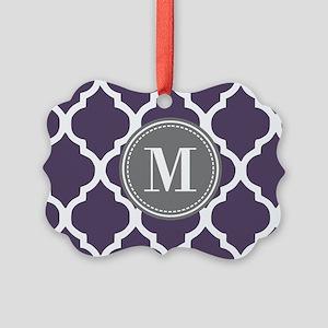 Purple & Gray Quatrefoil Monogram Picture Ornament