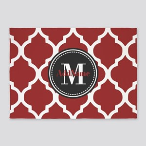 Red Quatrefoil Monogram 5'x7'Area Rug