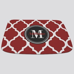 Red Quatrefoil Monogram Bathmat