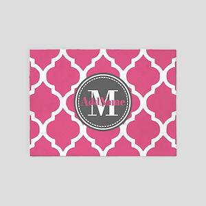 Pink Quatrefoil Monogram 5'x7'Area Rug
