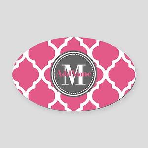 Pink Quatrefoil Monogram Oval Car Magnet