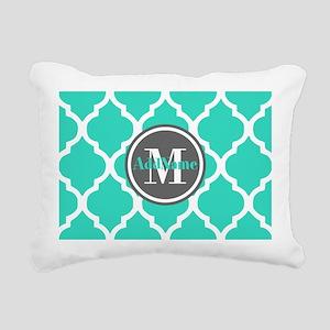 Teal Gray Quatrefoil Pat Rectangular Canvas Pillow