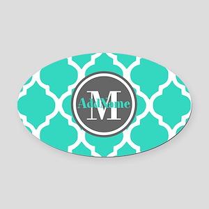 Teal Gray Quatrefoil Pattern Monog Oval Car Magnet