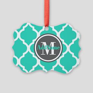Teal Gray Quatrefoil Pattern Mono Picture Ornament