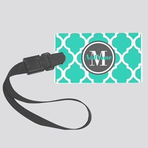 Teal Gray Quatrefoil Pattern Mon Large Luggage Tag
