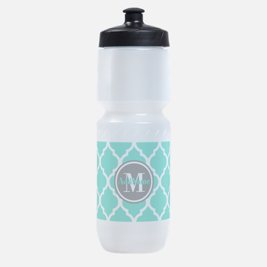 Teal Gray Quatrefoil Pattern Monogra Sports Bottle