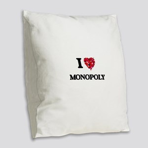 I Love Monopoly Burlap Throw Pillow