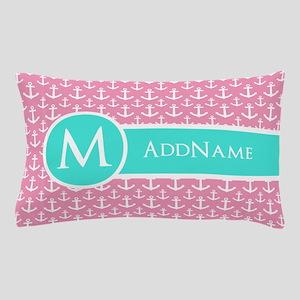 Aqua Pink Anchor Pattern Monogram Pillow Case