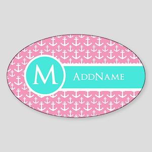 Aqua Pink Anchor Pattern Monogram Sticker (Oval)
