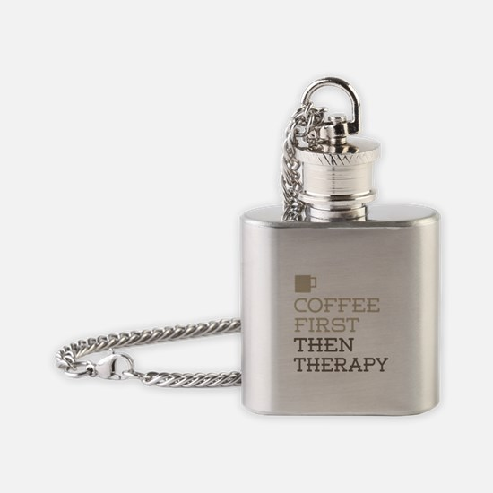 Coffee Then Therapy Flask Necklace