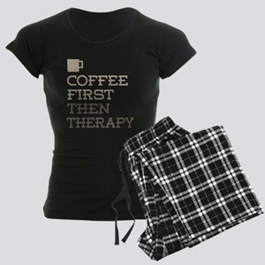 Coffee Then Therapy Women's Dark Pajamas