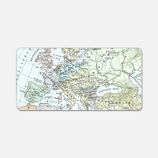 Vintage Map of Europe (1899 Aluminum License Plate