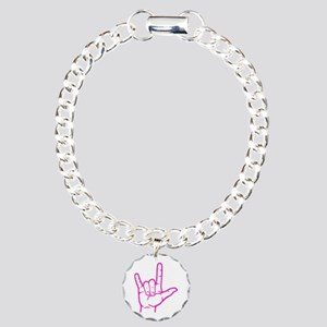 Fuchsia I Love You Charm Bracelet, One Charm