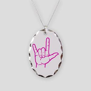 Fuchsia I Love You Necklace Oval Charm