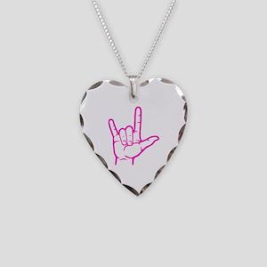 Fuchsia I Love You Necklace Heart Charm