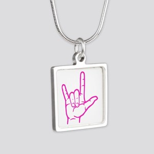 Fuchsia I Love You Silver Square Necklace