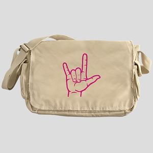 Fuchsia I Love You Messenger Bag