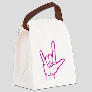 Fuchsia I Love You Canvas Lunch Bag