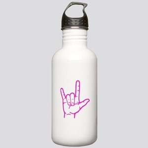 Fuchsia I Love You Stainless Water Bottle 1.0L