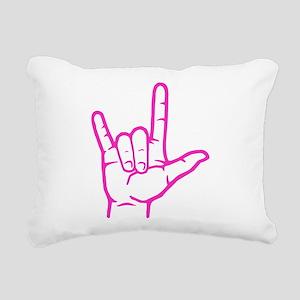 Fuchsia I Love You Rectangular Canvas Pillow