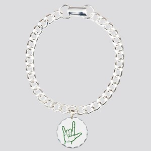 Green I Love You Charm Bracelet, One Charm