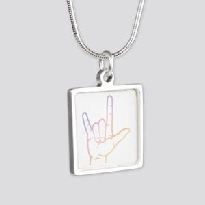 Pastel I Love You Silver Square Necklace