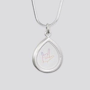 Pastel I Love You Silver Teardrop Necklace
