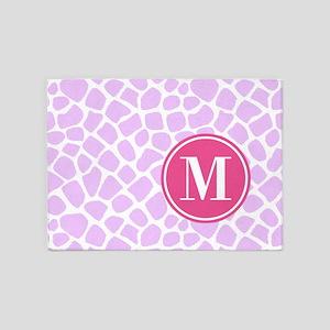 Chic Purple Giraffe Print With Mono 5'x7'Area Rug