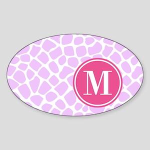 Chic Purple Giraffe Print With Mono Sticker (Oval)