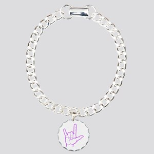 Purple I Love You Charm Bracelet, One Charm