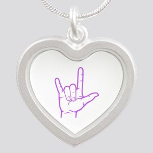 Purple I Love You Silver Heart Necklace