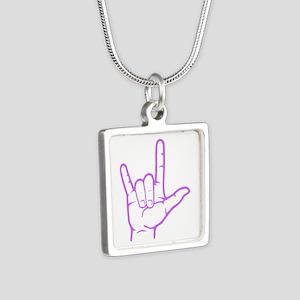 Purple I Love You Silver Square Necklace