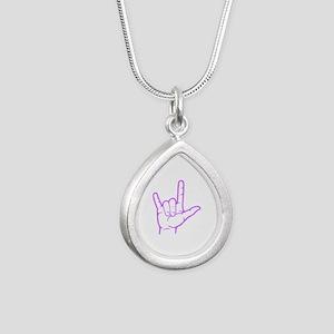 Purple I Love You Silver Teardrop Necklace