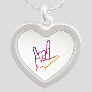Rainbow I Love You Silver Heart Necklace