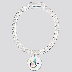 Rainbow Burst I Love You Charm Bracelet, One Charm