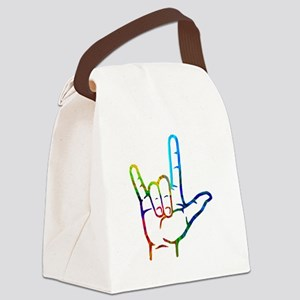 Rainbow Burst I Love You Canvas Lunch Bag