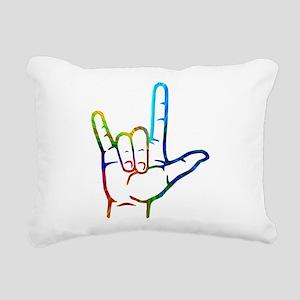 Rainbow Burst I Love You Rectangular Canvas Pillow