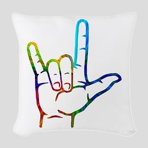 Rainbow Burst I Love You Woven Throw Pillow
