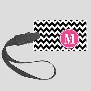 Black White Chevron Bright Pink Large Luggage Tag