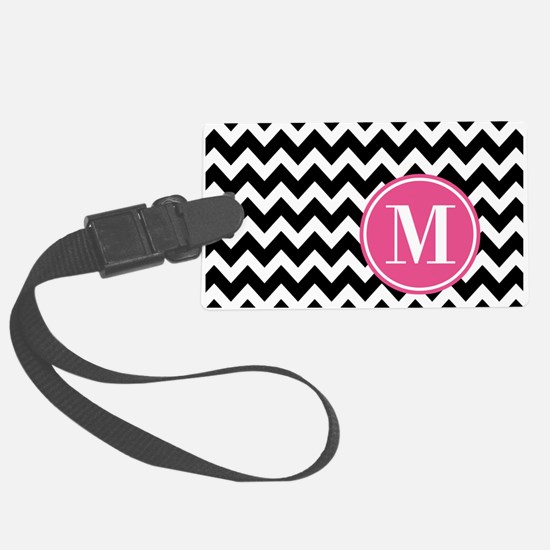 Black White Chevron Bright Pink Large Luggage Tag