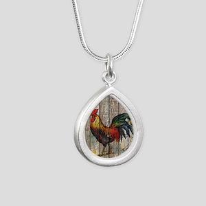 rustic farm country roos Silver Teardrop Necklace