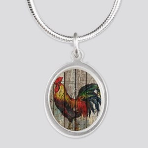 rustic farm country rooster Silver Oval Necklace