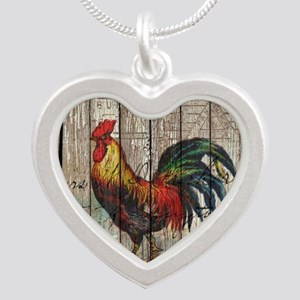 rustic farm country rooster Silver Heart Necklace