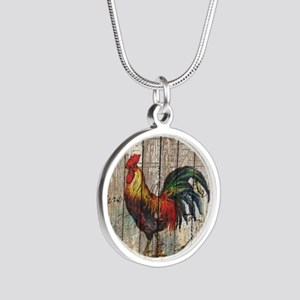 rustic farm country rooster Silver Round Necklace