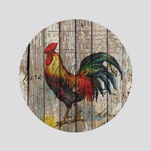 rustic farm country rooster Button