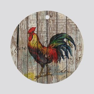 rustic farm country rooster Round Ornament